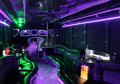 What is usually included in a party bus package?